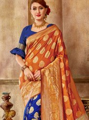 Blue and Orange Art Silk Designer Traditional Saree