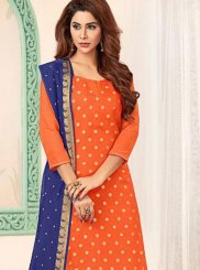 Blue and Orange Banarasi Silk Churidar Salwar Kameez