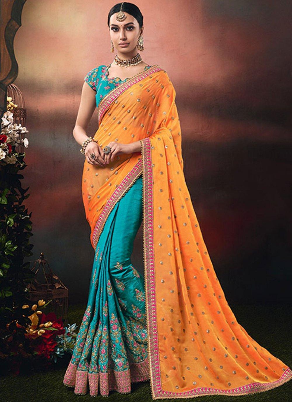 Blue and Orange Bridal Designer Half N Half Saree