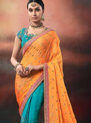 Blue and Orange Bridal Designer Half N Half Saree