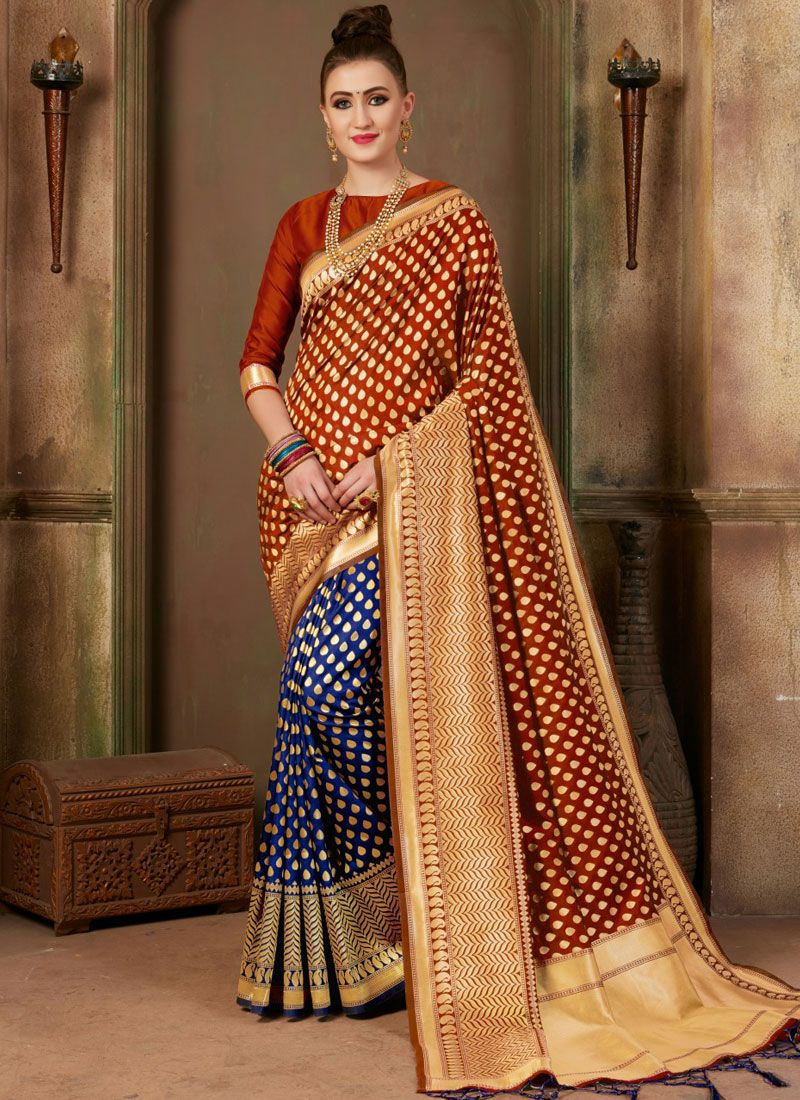Blue and Orange Weaving Art Silk Designer Traditional Saree