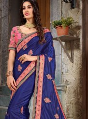 Blue and Peach Classic Saree