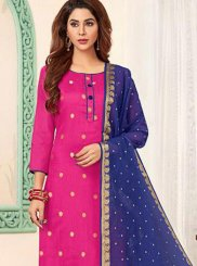 Blue and Pink Banarasi Silk Casual Churidar Salwar Suit