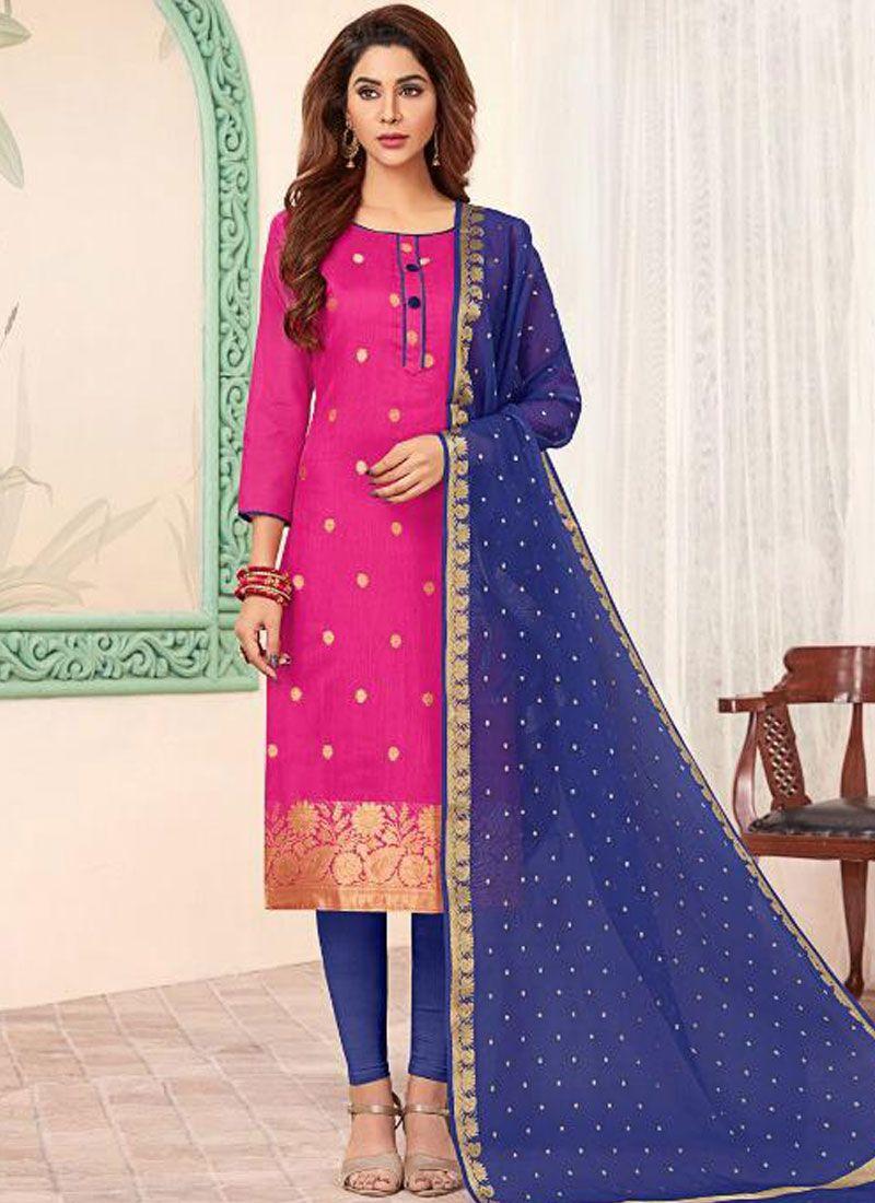 Blue and Pink Banarasi Silk Casual Churidar Salwar Suit