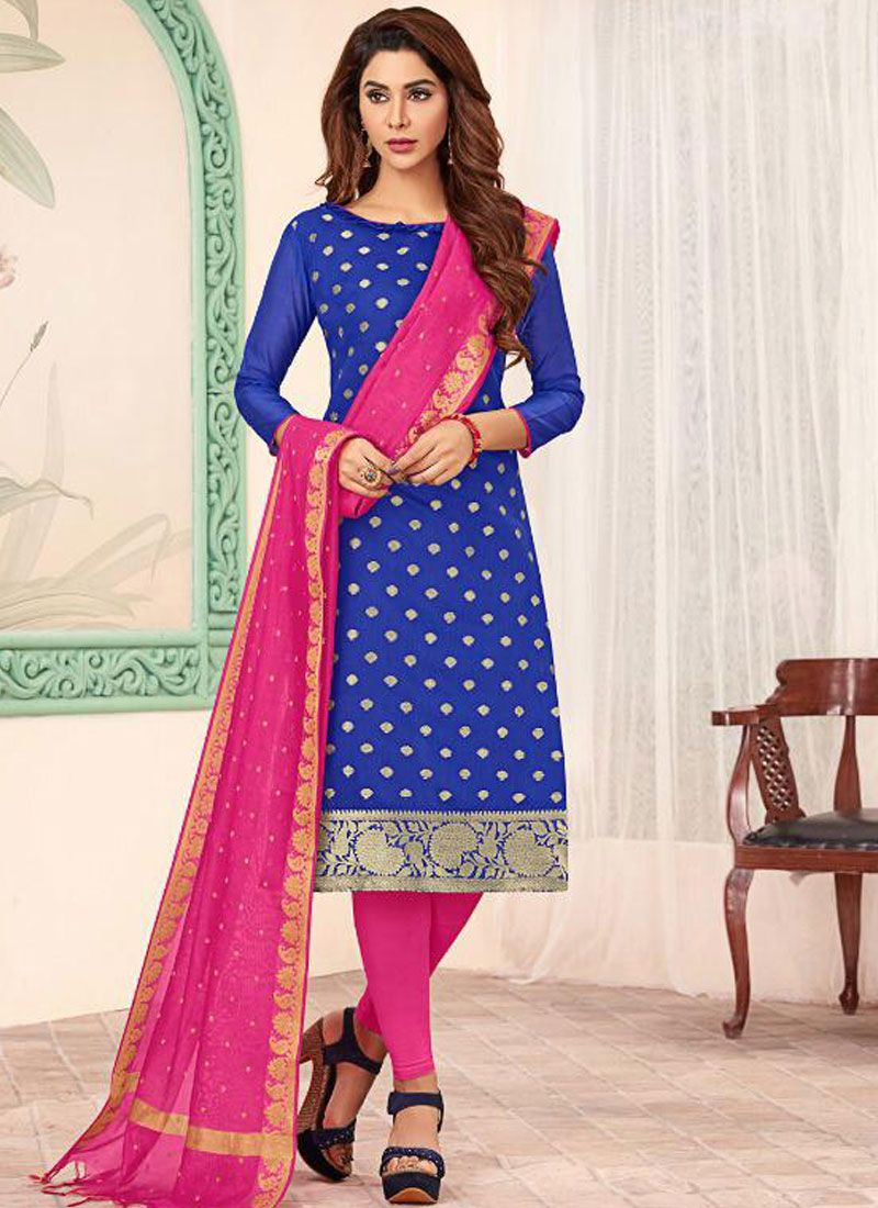 Blue and Pink Banarasi Silk Churidar Designer Suit