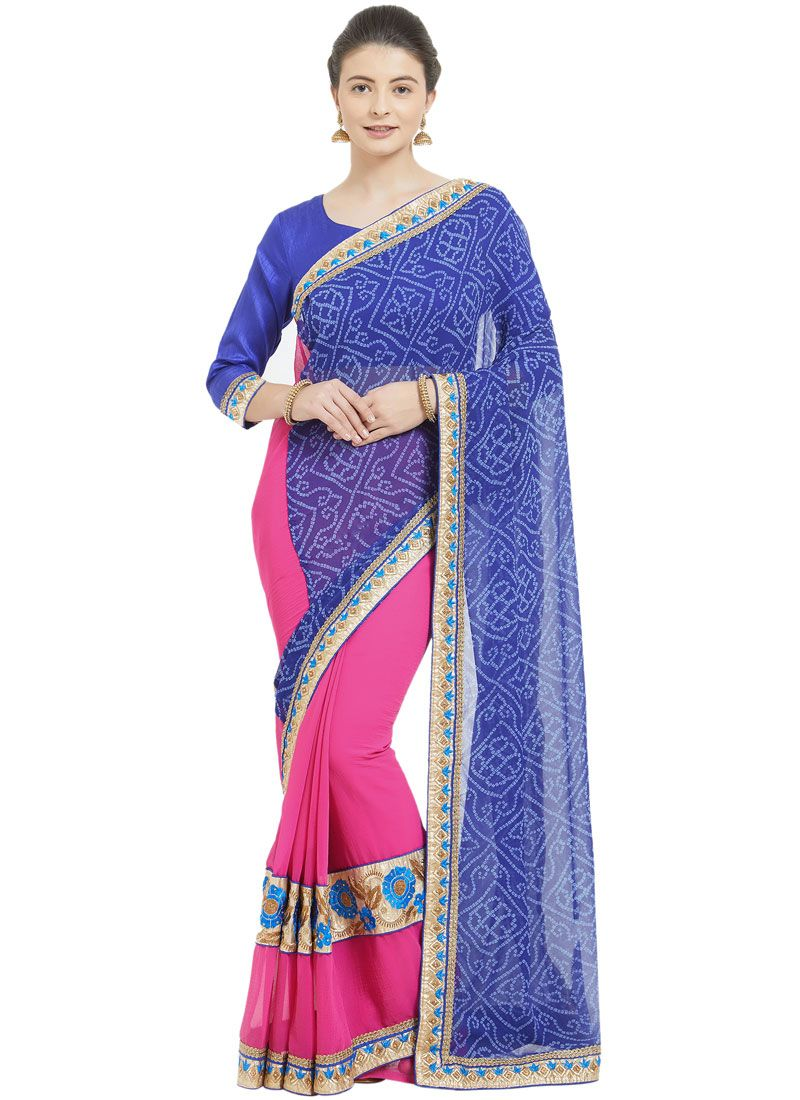 Blue and Pink Casual Printed Saree