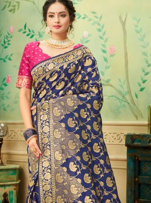 Blue and Pink Color Traditional Saree