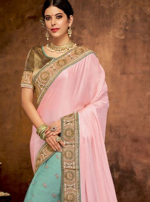 Blue and Pink Embroidered Net Designer Half N Half Saree