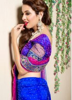 Blue and Pink Net Trendy Lehenga Choli