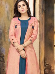Blue and Pink Party Party Wear Kurti
