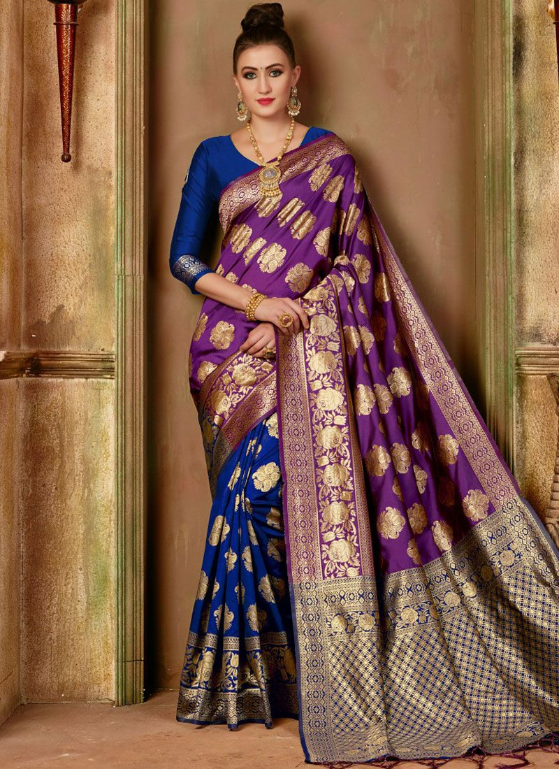 Blue and Purple Party Traditional Designer Saree