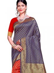 Blue and Red Art Silk Ceremonial Traditional Designer Saree