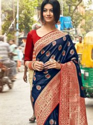 Blue and Red Art Silk Weaving Classic Saree