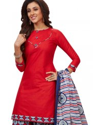 Blue and Red Patiala Salwar Suit