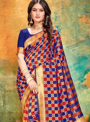 Blue and Red Sangeet Printed Saree