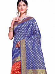 Blue and Red Weaving Traditional Saree
