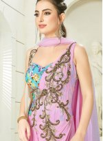 Blue and Rose Pink Handwork Anarkali Salwar Kameez