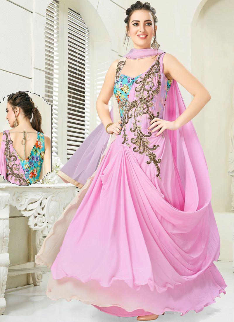 Blue and Rose Pink Handwork Anarkali Salwar Kameez