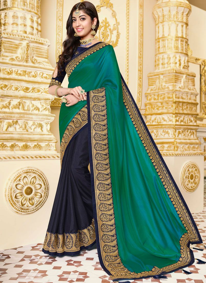 Blue and Sea Green Georgette Satin Designer Half N Half Saree