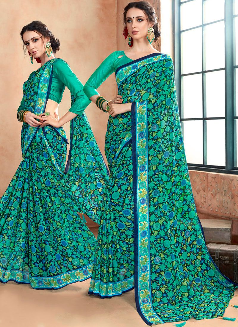 Blue and Sea Green Party Georgette Casual Saree