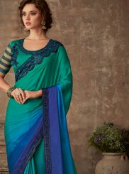 Blue and Teal Faux Chiffon Festival Silk Saree