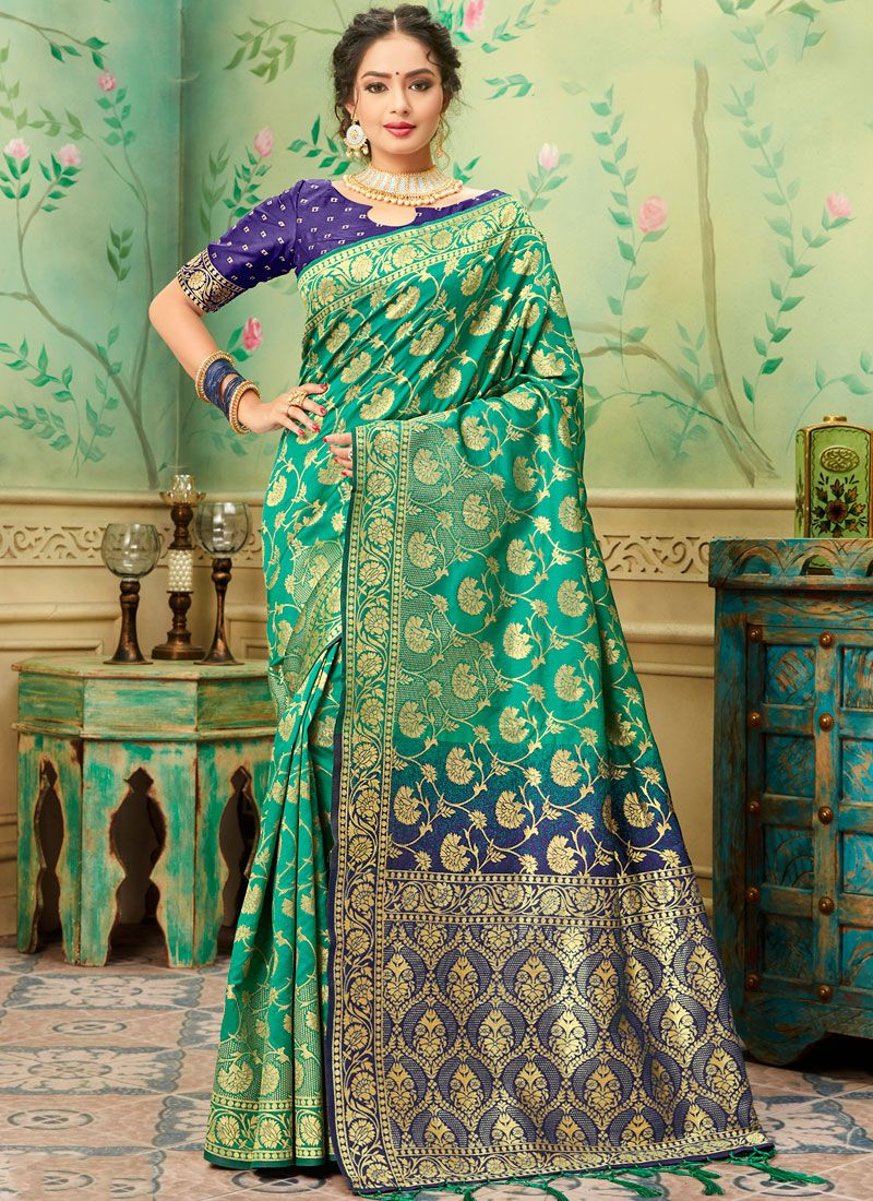 Blue and Teal Trendy Saree
