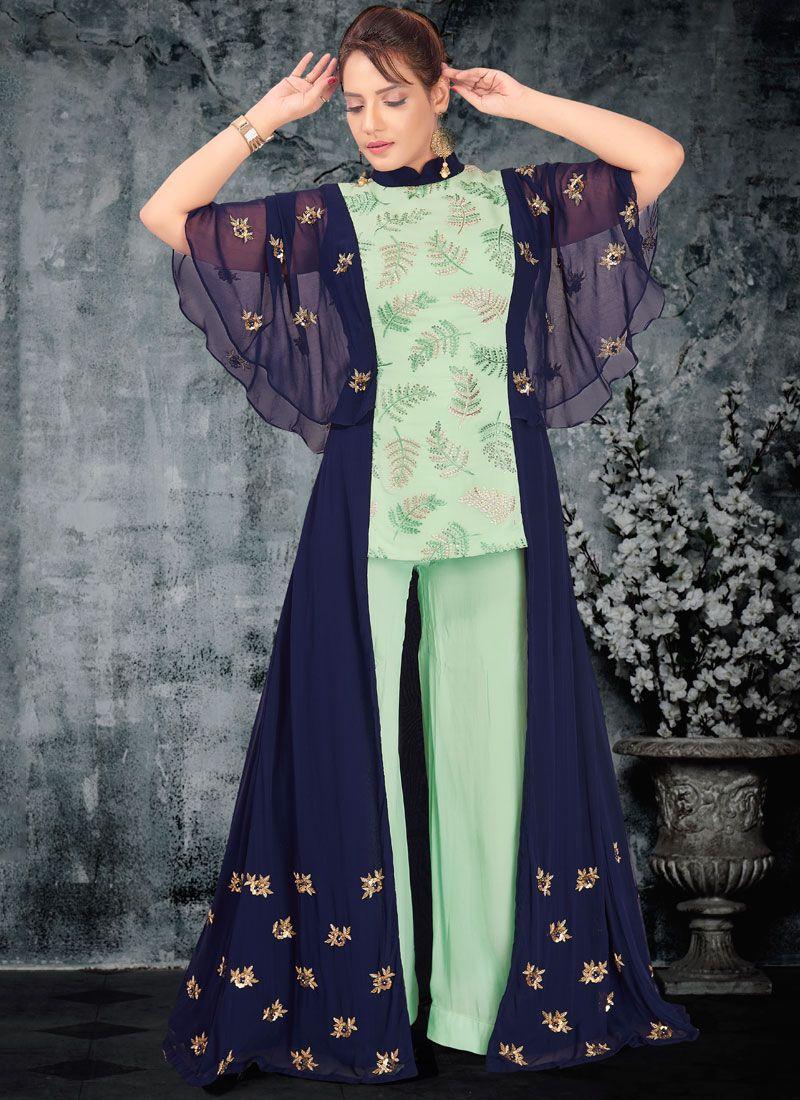 Blue and Turquoise Resham Designer Palazzo Salwar Suit