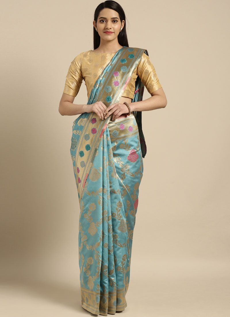Blue and Turquoise Weaving Silk Saree