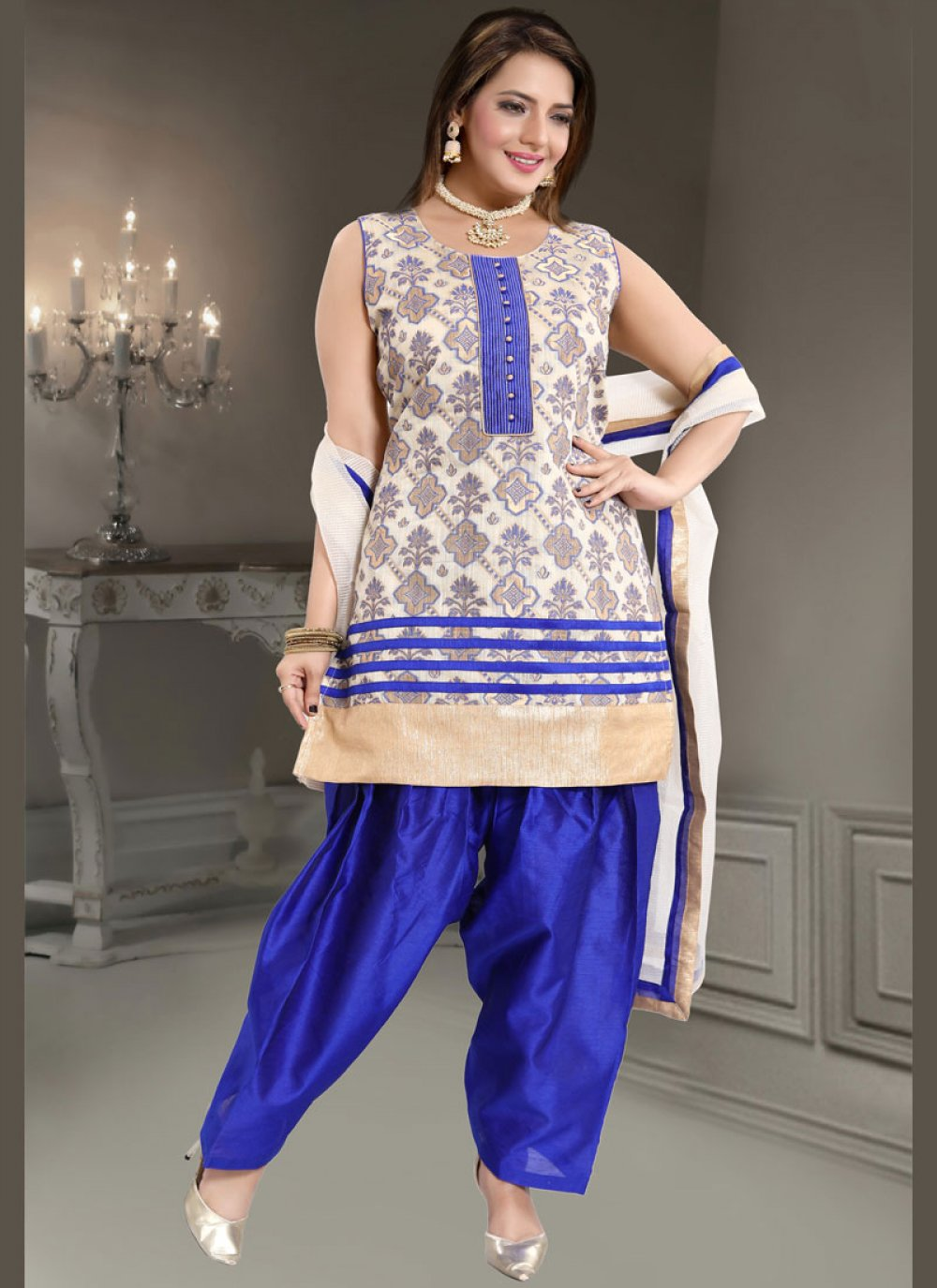Blue and White Ceremonial Readymade Suit