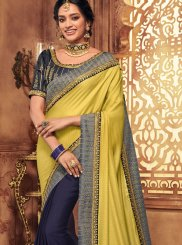 Blue and Yellow Art Silk Designer Traditional Saree
