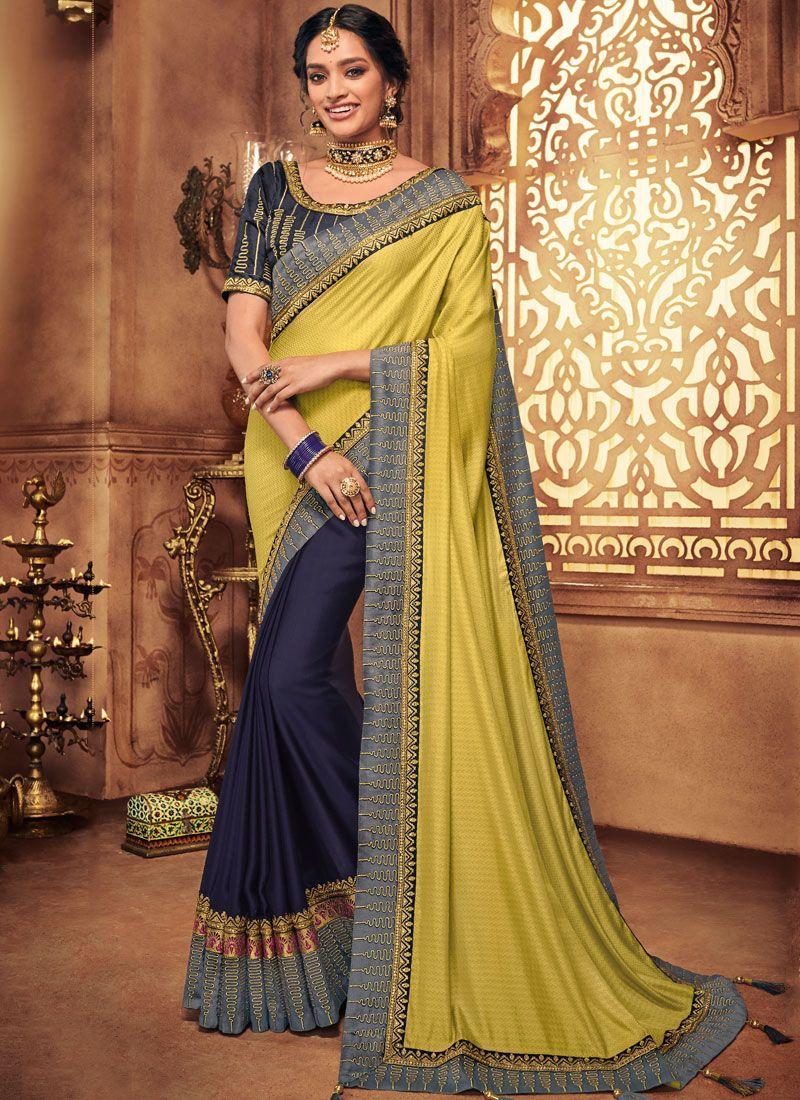 Blue and Yellow Art Silk Designer Traditional Saree