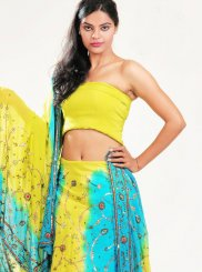 Blue and Yellow Fancy Wedding Lehenga Choli