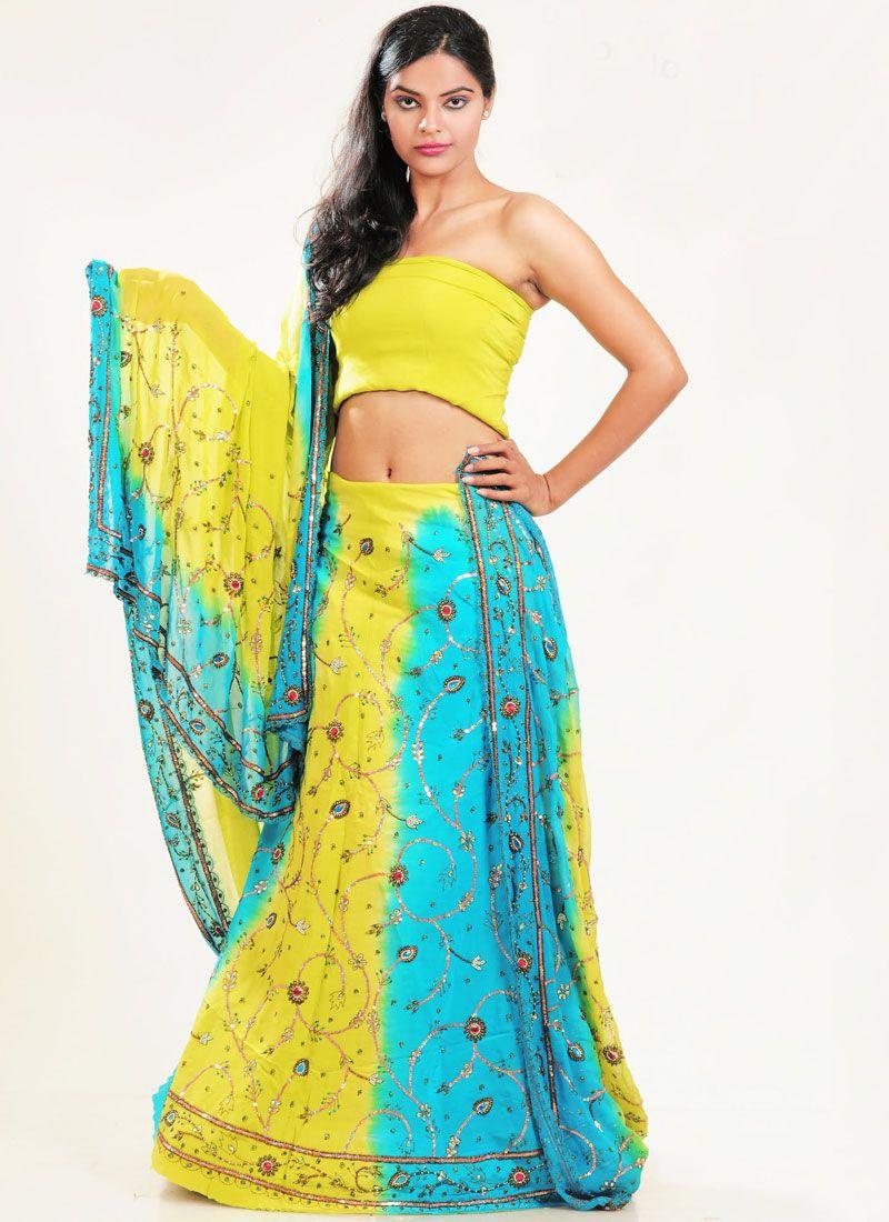Blue and Yellow Fancy Wedding Lehenga Choli