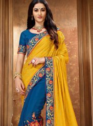 Blue and Yellow Patch Border Trendy Saree