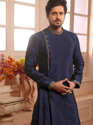 Blue Art Banarasi Silk Ceremonial Indo Western