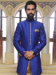 Blue Art Raw Silk Ceremonial Sherwani