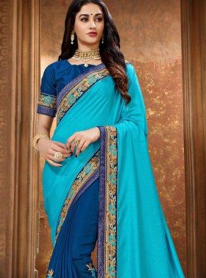 Blue Art Silk Ceremonial Classic Saree