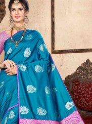 Blue Art Silk Ceremonial Designer Traditional Saree