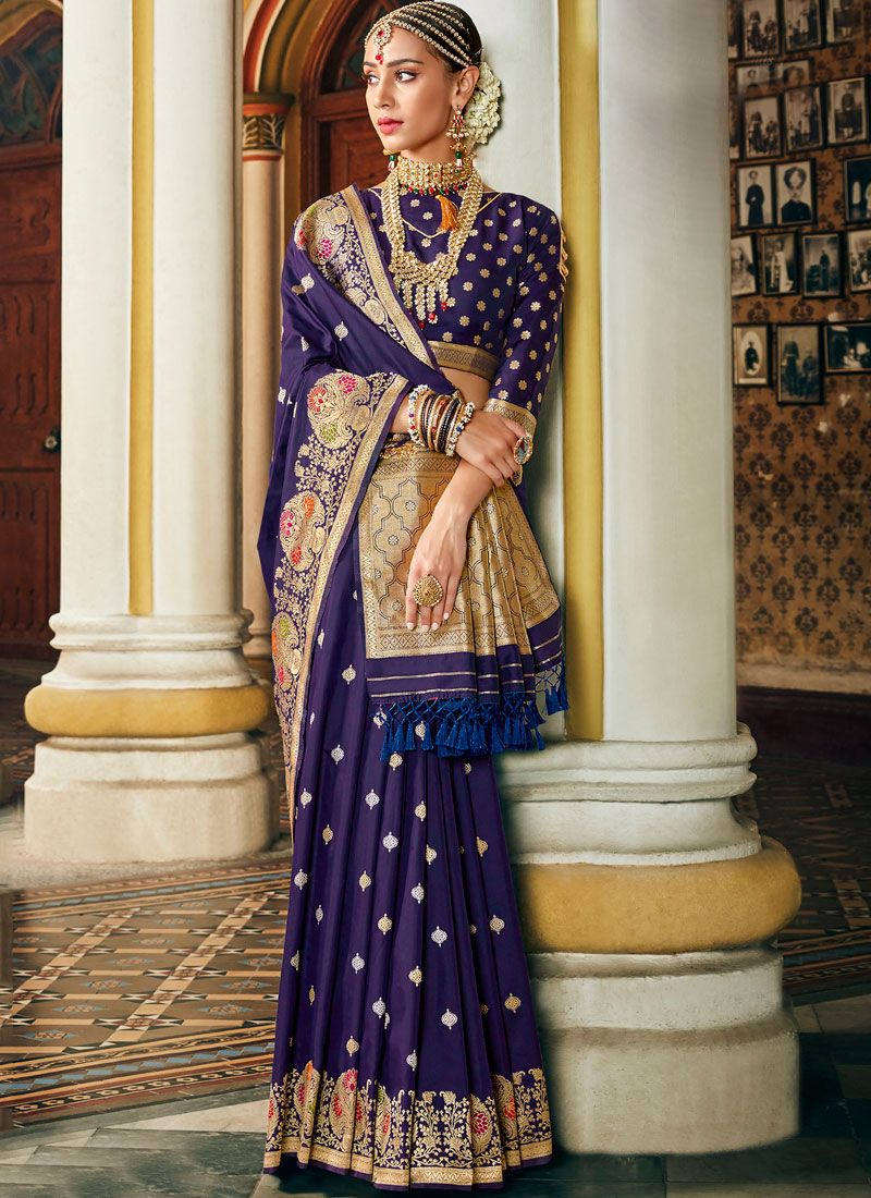 Blue Art Silk Ceremonial Traditional Saree