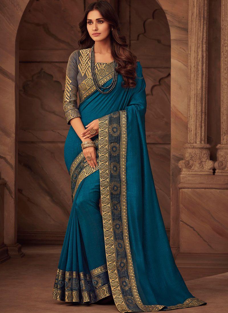Blue Art Silk Classic Designer Saree