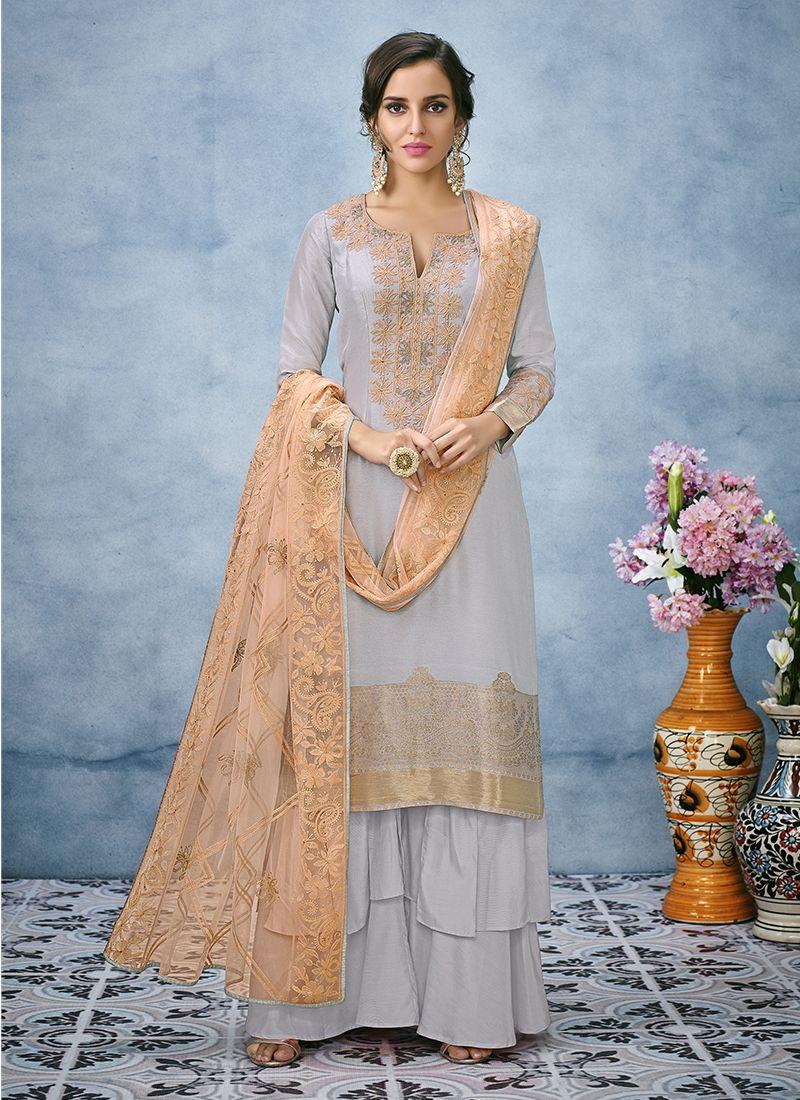 Blue Art Silk Designer Pakistani Suit