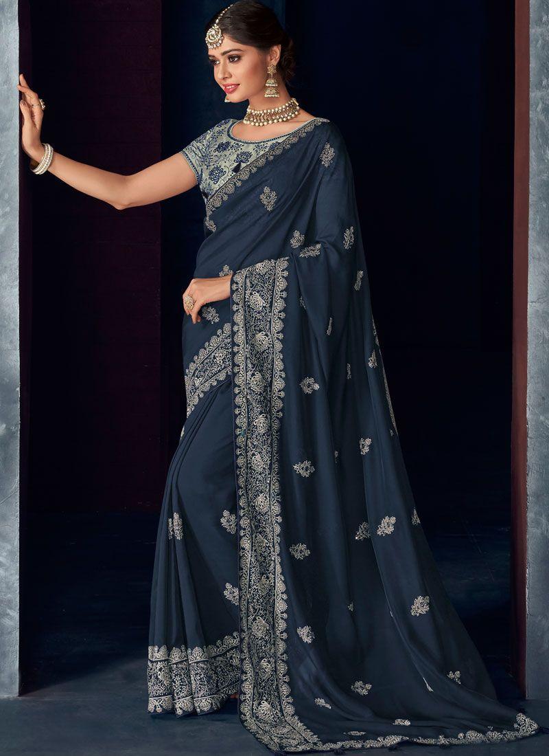 Blue Art Silk Designer Saree