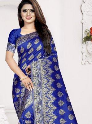 Blue Art Silk Designer Traditional Saree