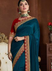 Blue Art Silk Embroidered Classic Saree