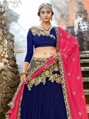 Blue Art Silk Embroidered Designer Lehenga Choli