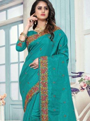 Blue Art Silk Embroidered Traditional Designer Saree
