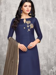 Blue Art Silk Festival Designer Palazzo Suit