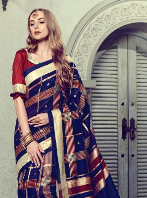 Blue Art Silk Foil print Trendy Saree