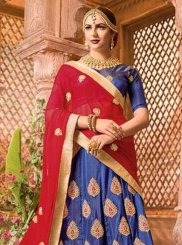Blue Art Silk Lace Lehenga Choli