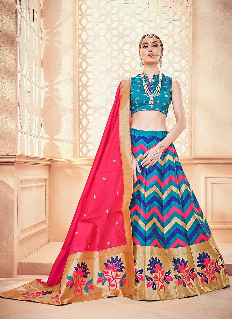 Blue Art Silk Sangeet Designer Lehenga Choli